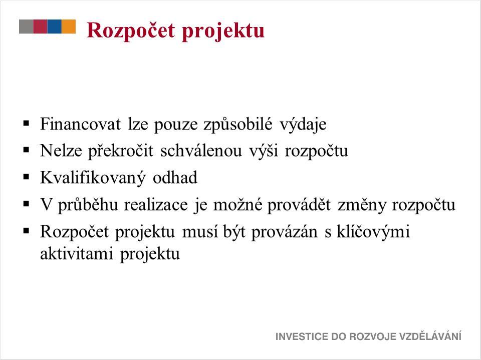 Rozpočet projektu  Financovat lze pouze způsobilé výdaje  Nelze překročit schválenou výši rozpočtu  Kvalifikovaný odhad  V průběhu realizace je možné provádět změny rozpočtu  Rozpočet projektu musí být provázán s klíčovými aktivitami projektu