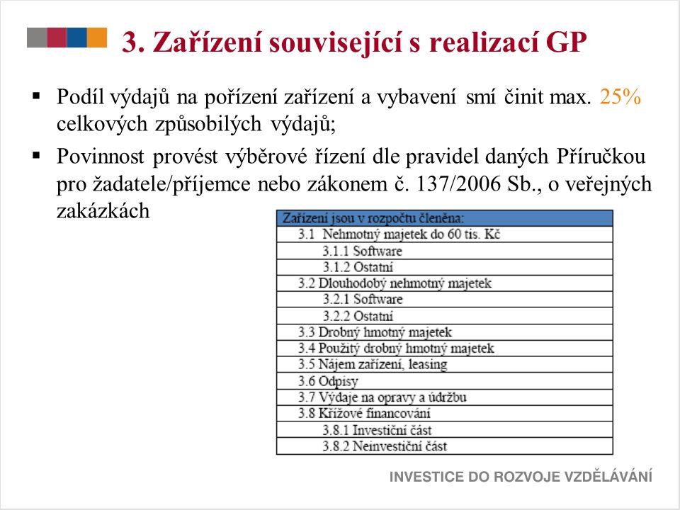 3. Zařízení související s realizací GP  Podíl výdajů na pořízení zařízení a vybavení smí činit max. 25% celkových způsobilých výdajů;  Povinnost pro