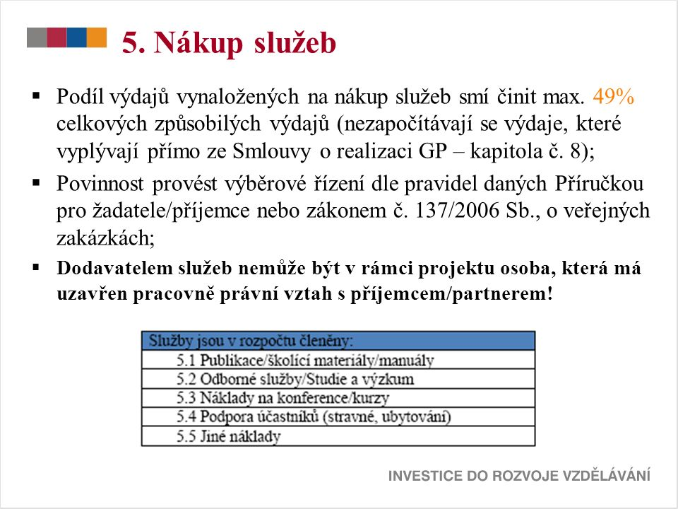5. Nákup služeb  Podíl výdajů vynaložených na nákup služeb smí činit max.