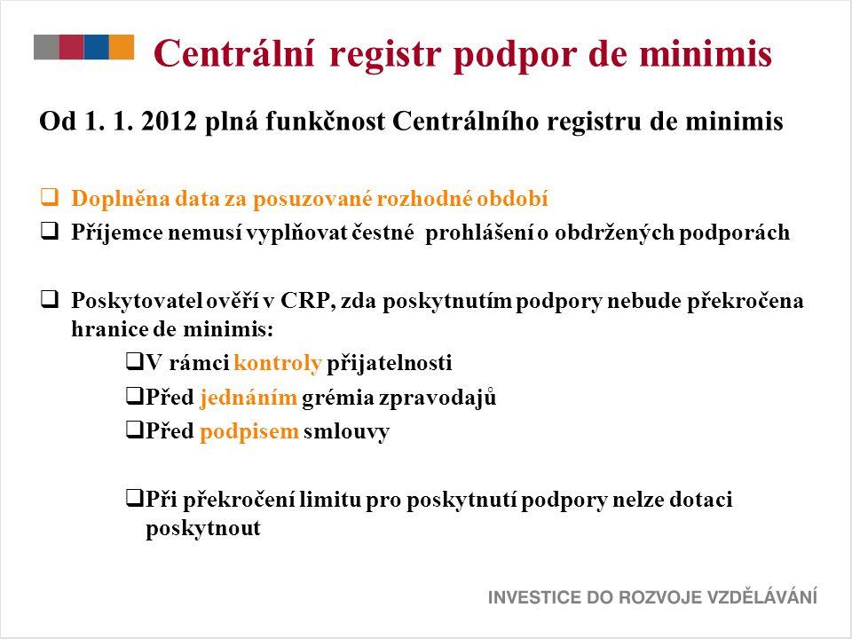 Centrální registr podpor de minimis Od 1. 1.
