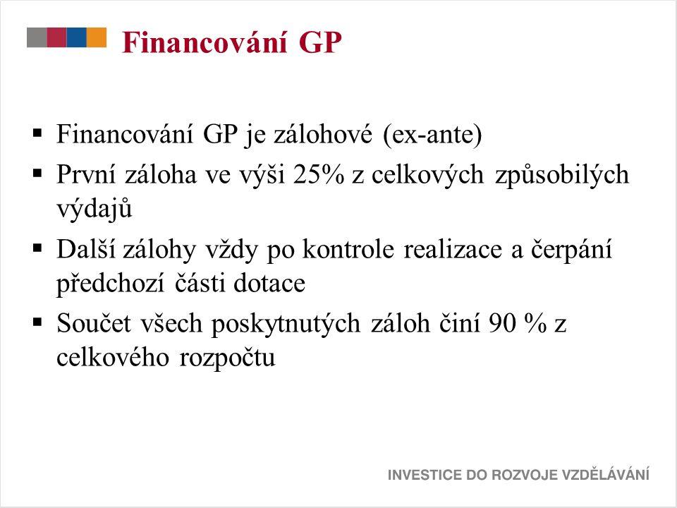 Financování GP  Financování GP je zálohové (ex-ante)  První záloha ve výši 25% z celkových způsobilých výdajů  Další zálohy vždy po kontrole realizace a čerpání předchozí části dotace  Součet všech poskytnutých záloh činí 90 % z celkového rozpočtu