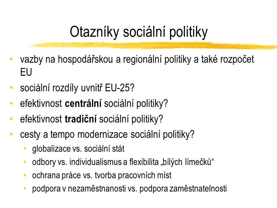 Otazníky sociální politiky vazby na hospodářskou a regionální politiky a také rozpočet EU sociální rozdíly uvnitř EU-25.