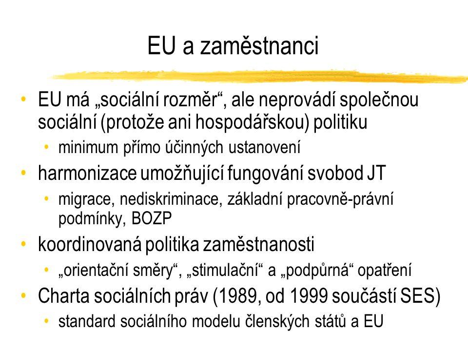 """EU a zaměstnanci EU má """"sociální rozměr , ale neprovádí společnou sociální (protože ani hospodářskou) politiku minimum přímo účinných ustanovení harmonizace umožňující fungování svobod JT migrace, nediskriminace, základní pracovně-právní podmínky, BOZP koordinovaná politika zaměstnanosti """"orientační směry , """"stimulační a """"podpůrná opatření Charta sociálních práv (1989, od 1999 součástí SES) standard sociálního modelu členských států a EU"""