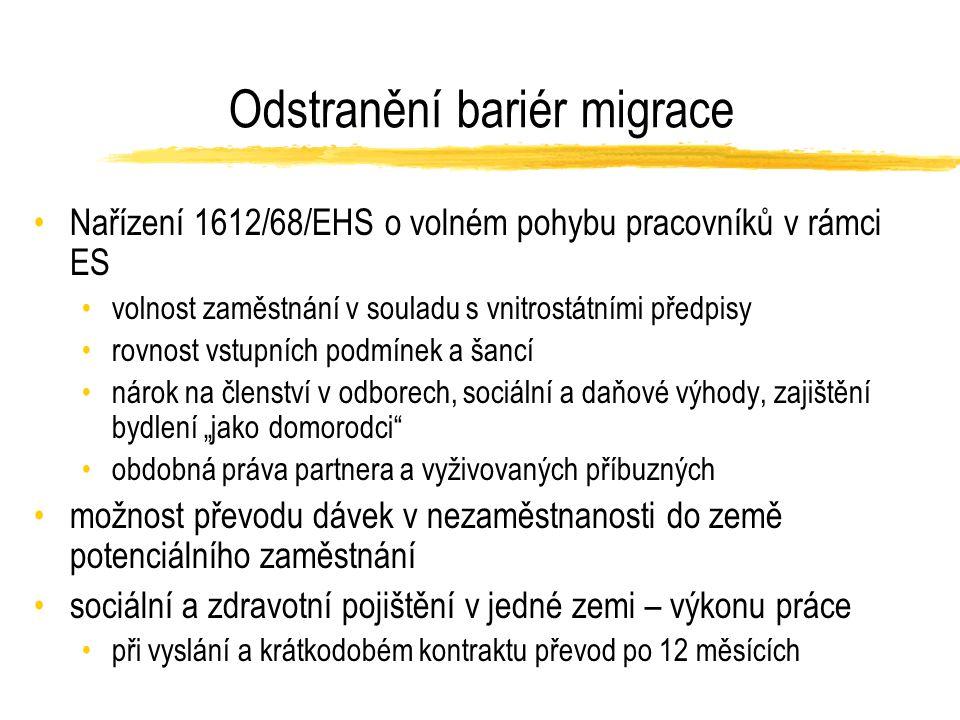 """Odstranění bariér migrace Nařízení 1612/68/EHS o volném pohybu pracovníků v rámci ES volnost zaměstnání v souladu s vnitrostátními předpisy rovnost vstupních podmínek a šancí nárok na členství v odborech, sociální a daňové výhody, zajištění bydlení """"jako domorodci obdobná práva partnera a vyživovaných příbuzných možnost převodu dávek v nezaměstnanosti do země potenciálního zaměstnání sociální a zdravotní pojištění v jedné zemi – výkonu práce při vyslání a krátkodobém kontraktu převod po 12 měsících"""