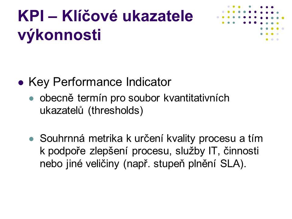 KPI – Klíčové ukazatele výkonnosti Key Performance Indicator obecně termín pro soubor kvantitativních ukazatelů (thresholds) Souhrnná metrika k určení kvality procesu a tím k podpoře zlepšení procesu, služby IT, činnosti nebo jiné veličiny (např.