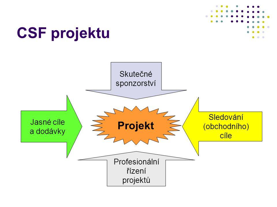 CSF projektu Jasné cíle a dodávky Skutečné sponzorství Sledování (obchodního) cíle Profesionální řízení projektů Projekt