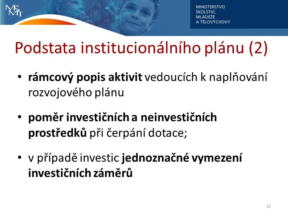 Podstata institucionálního plánu (2) rámcový popis aktivit vedoucích k naplňování rozvojového plánu poměr investičních a neinvestičních prostředků při čerpání dotace; v případě investic jednoznačné vymezení investičních záměrů 12