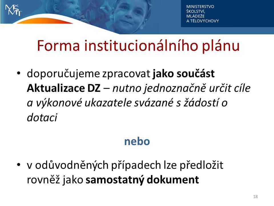 Forma institucionálního plánu doporučujeme zpracovat jako součást Aktualizace DZ – nutno jednoznačně určit cíle a výkonové ukazatele svázané s žádostí