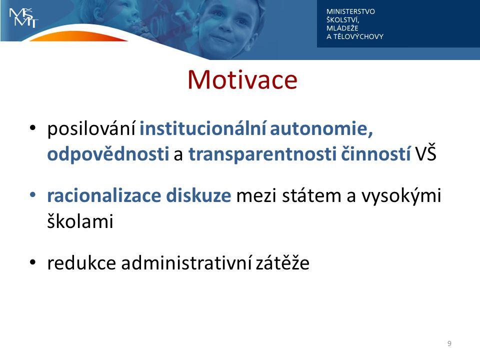Motivace posilování institucionální autonomie, odpovědnosti a transparentnosti činností VŠ racionalizace diskuze mezi státem a vysokými školami redukce administrativní zátěže 9