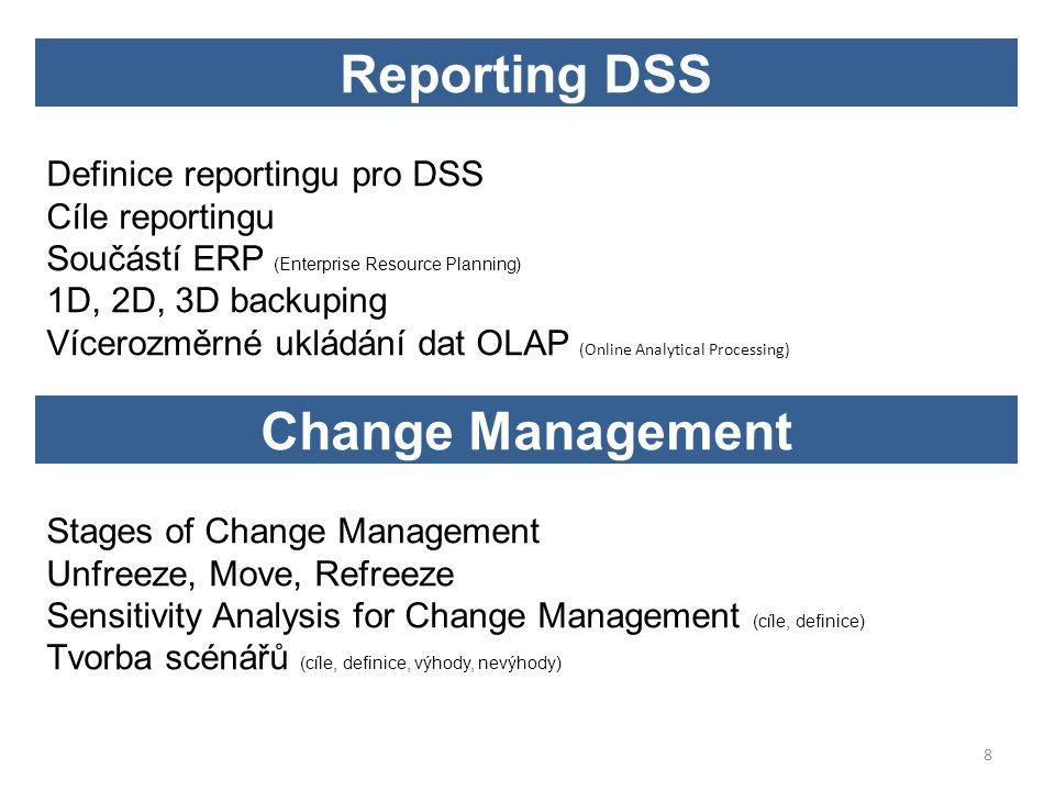 Definice reportingu pro DSS Cíle reportingu Součástí ERP (Enterprise Resource Planning) 1D, 2D, 3D backuping Vícerozměrné ukládání dat OLAP (Online Analytical Processing) Reporting DSS 8 Stages of Change Management Unfreeze, Move, Refreeze Sensitivity Analysis for Change Management (cíle, definice) Tvorba scénářů (cíle, definice, výhody, nevýhody) Change Management