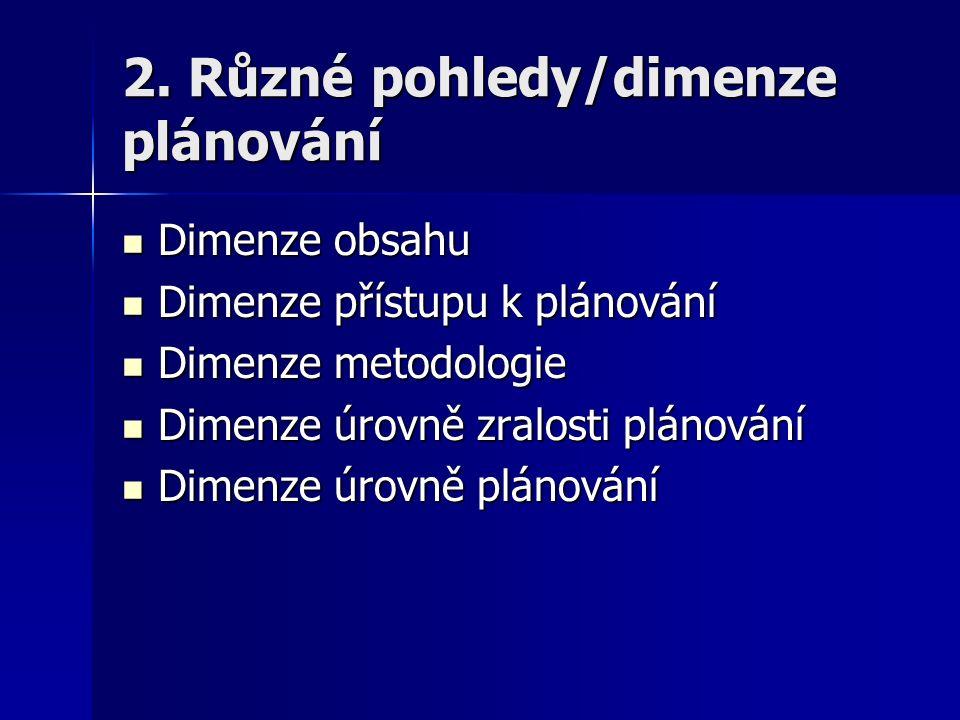 2. Různé pohledy/dimenze plánování Dimenze obsahu Dimenze obsahu Dimenze přístupu k plánování Dimenze přístupu k plánování Dimenze metodologie Dimenze