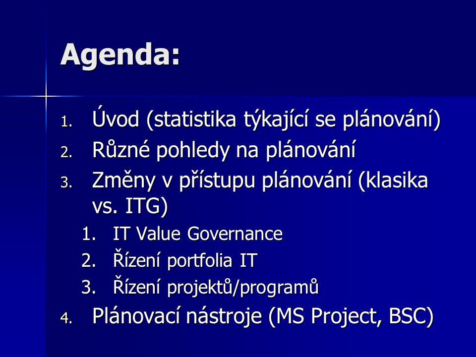 Agenda: 1. Úvod (statistika týkající se plánování) 2.