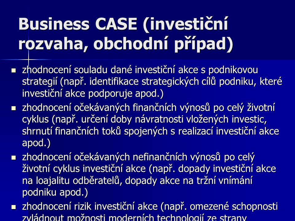 Business CASE (investiční rozvaha, obchodní případ) zhodnocení souladu dané investiční akce s podnikovou strategií (např.