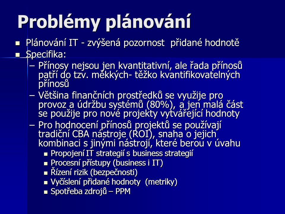 Problémy plánování Plánování IT - zvýšená pozornost přidané hodnotě Plánování IT - zvýšená pozornost přidané hodnotě Specifika: Specifika: –Přínosy nejsou jen kvantitativní, ale řada přínosů patří do tzv.