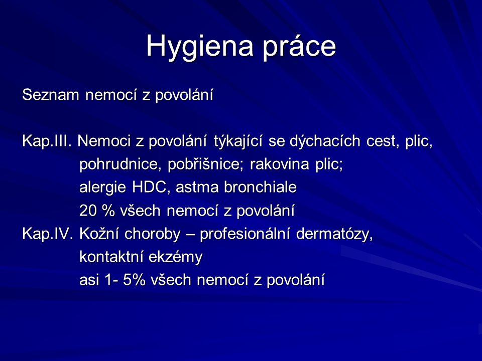 Hygiena práce Seznam nemocí z povolání Kap.III.