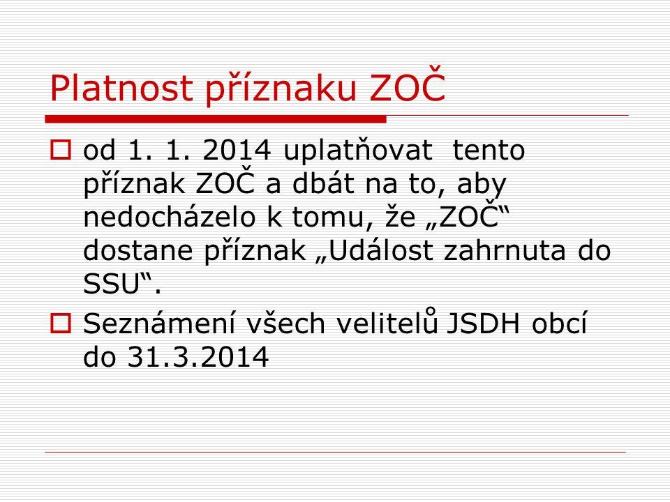 """Platnost příznaku ZOČ  od 1. 1. 2014 uplatňovat tento příznak ZOČ a dbát na to, aby nedocházelo k tomu, že """"ZOČ"""" dostane příznak """"Událost zahrnuta do"""