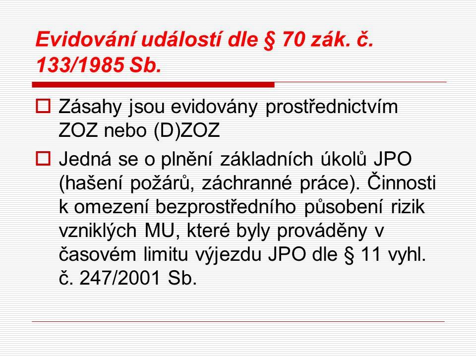 Evidování událostí dle § 70 zák. č. 133/1985 Sb.  Zásahy jsou evidovány prostřednictvím ZOZ nebo (D)ZOZ  Jedná se o plnění základních úkolů JPO (haš
