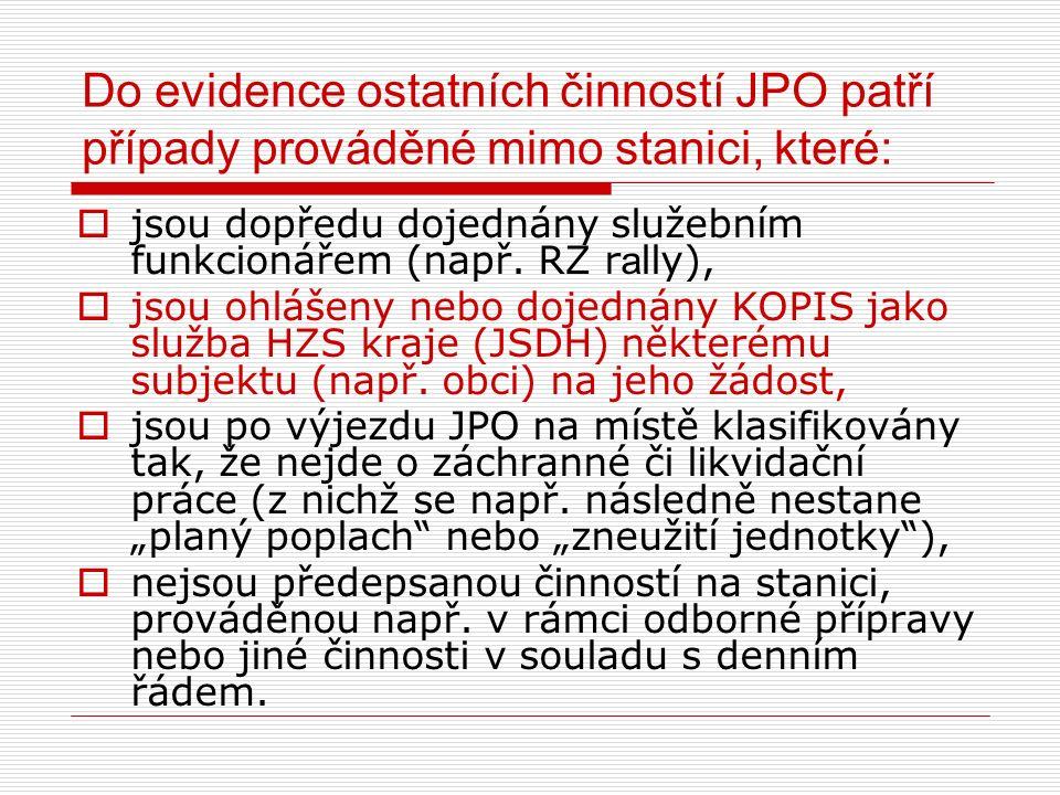 Do evidence ostatních činností JPO patří případy prováděné mimo stanici, které:  jsou dopředu dojednány služebním funkcionářem (např. RZ r a lly), 