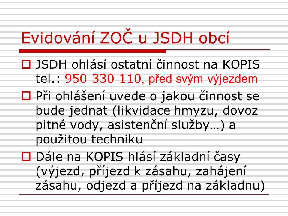 Evidování ZOČ u JSDH obcí  JSDH ohlásí ostatní činnost na KOPIS tel.: 950 330 110, před svým výjezdem  Při ohlášení uvede o jakou činnost se bude je