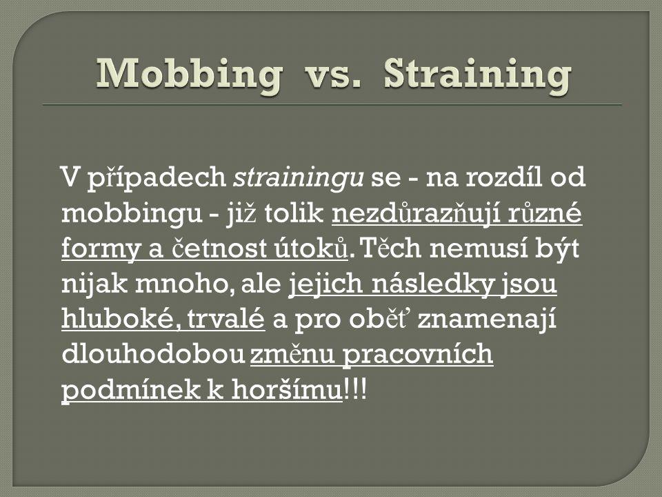 V p ř ípadech strainingu se - na rozdíl od mobbingu - ji ž tolik nezd ů raz ň ují r ů zné formy a č etnost útok ů.