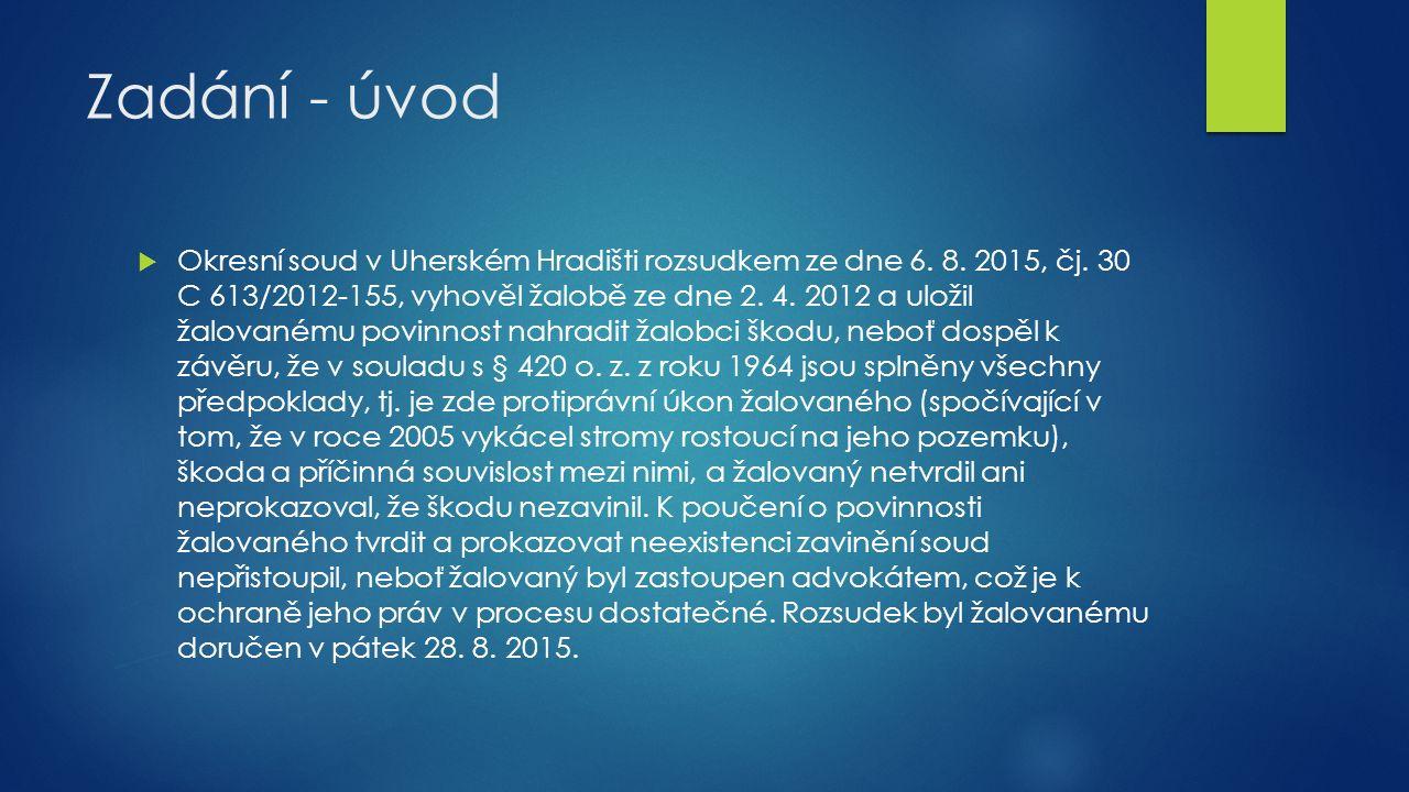 Zadání - úvod  Okresní soud v Uherském Hradišti rozsudkem ze dne 6.