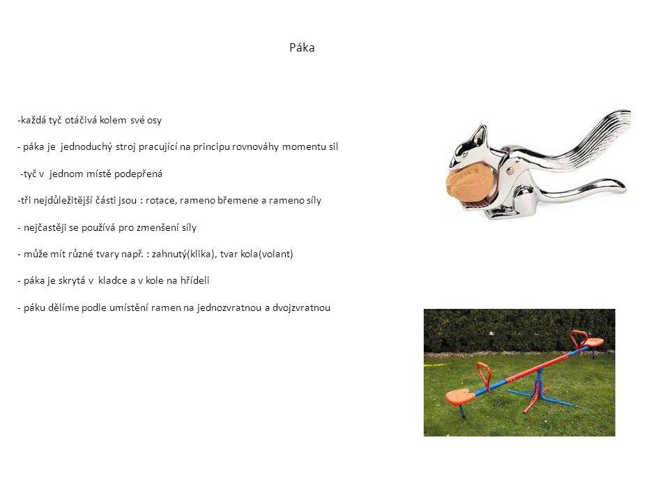 -každá tyč otáčivá kolem své osy - páka je jednoduchý stroj pracující na principu rovnováhy momentu sil -tyč v jednom místě podepřená -tři nejdůležitější části jsou : rotace, rameno břemene a rameno síly - nejčastěji se používá pro zmenšení síly - může mít různé tvary např.