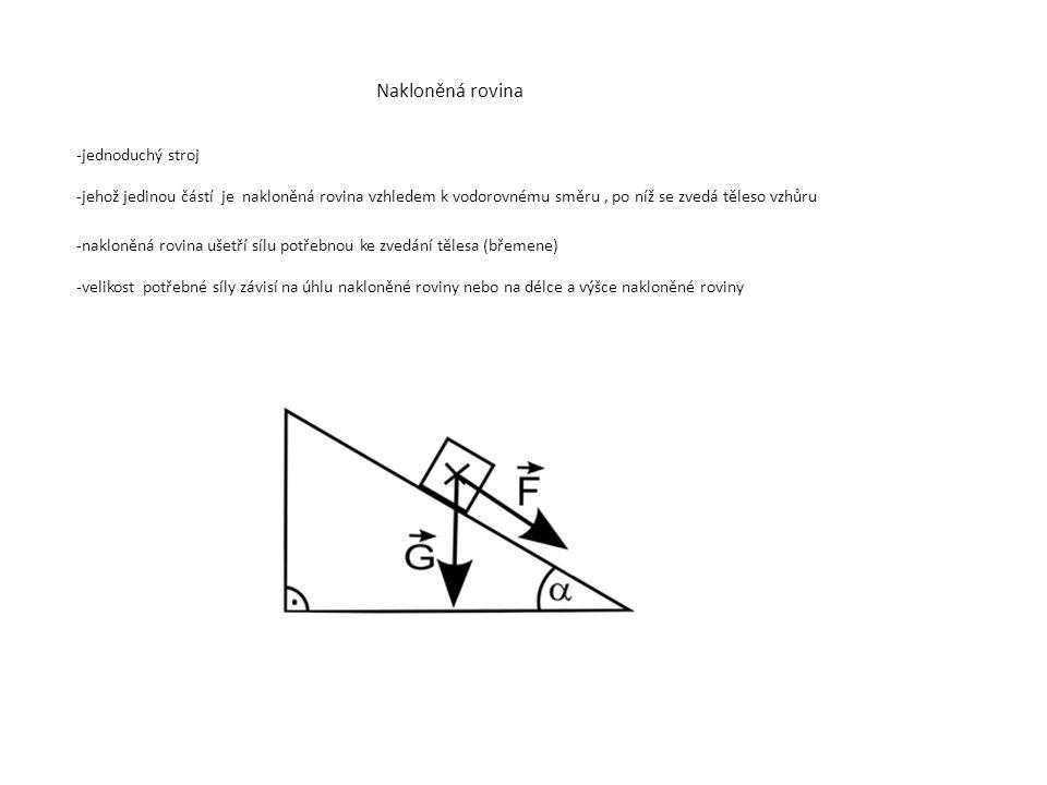 Nakloněná rovina -jednoduchý stroj -jehož jedinou částí je nakloněná rovina vzhledem k vodorovnému směru, po níž se zvedá těleso vzhůru -nakloněná rovina ušetří sílu potřebnou ke zvedání tělesa (břemene) -velikost potřebné síly závisí na úhlu nakloněné roviny nebo na délce a výšce nakloněné roviny