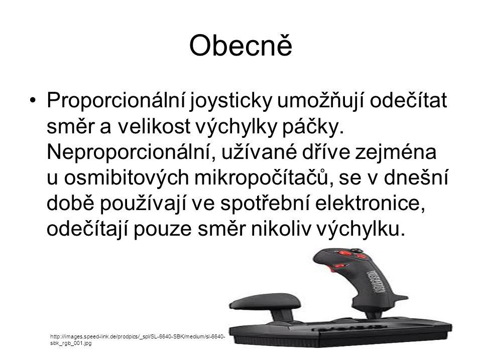 Obecně Proporcionální joysticky umožňují odečítat směr a velikost výchylky páčky.