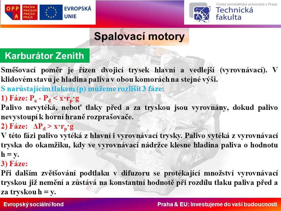 Evropský sociální fond Praha & EU: Investujeme do vaší budoucnosti Spalovací motory Karburátor Zenith Směšovací poměr je řízen dvojicí trysek hlavní a vedlejší (vyrovnávací).