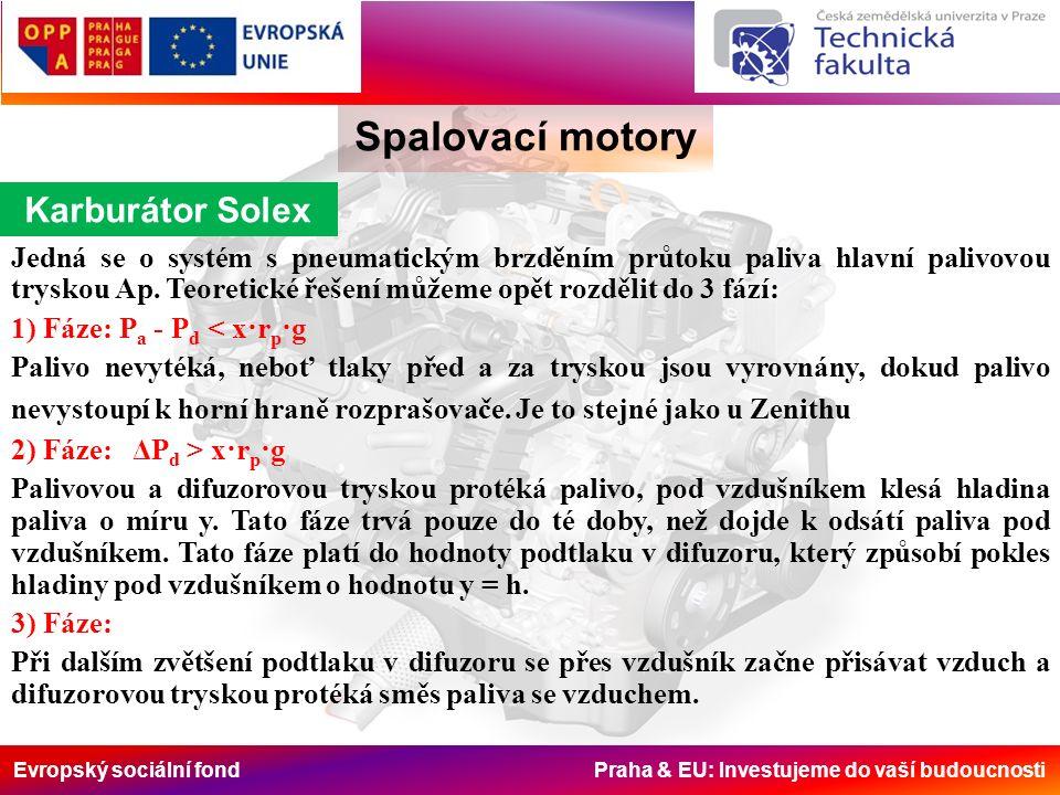 Evropský sociální fond Praha & EU: Investujeme do vaší budoucnosti Spalovací motory Karburátor Solex Jedná se o systém s pneumatickým brzděním průtoku