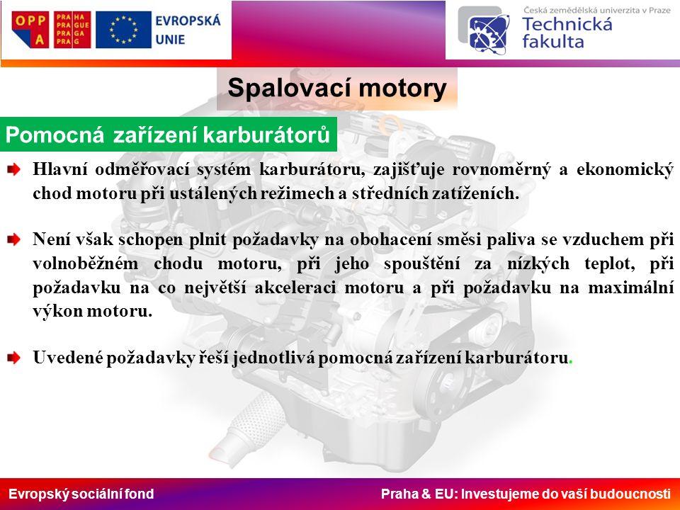 Evropský sociální fond Praha & EU: Investujeme do vaší budoucnosti Spalovací motory Pomocná zařízení karburátorů Hlavní odměřovací systém karburátoru, zajišťuje rovnoměrný a ekonomický chod motoru při ustálených režimech a středních zatíženích.