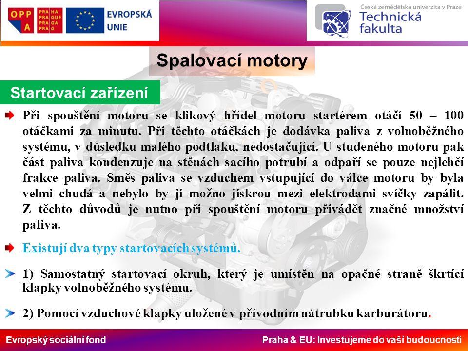 Evropský sociální fond Praha & EU: Investujeme do vaší budoucnosti Spalovací motory Startovací zařízení Při spouštění motoru se klikový hřídel motoru startérem otáčí 50 – 100 otáčkami za minutu.