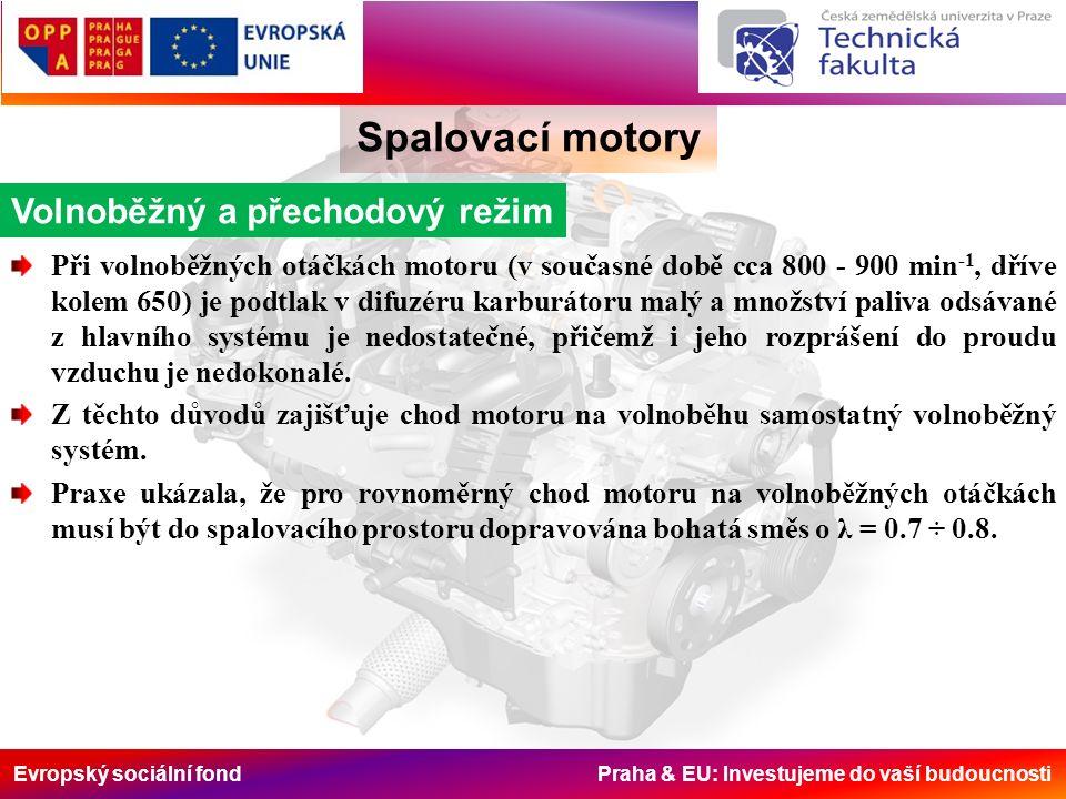 Evropský sociální fond Praha & EU: Investujeme do vaší budoucnosti Spalovací motory Volnoběžný a přechodový režim Při volnoběžných otáčkách motoru (v