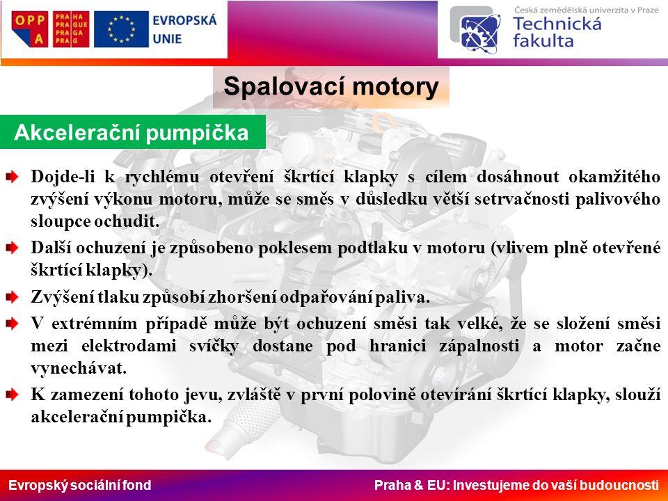 Evropský sociální fond Praha & EU: Investujeme do vaší budoucnosti Spalovací motory Akcelerační pumpička Dojde-li k rychlému otevření škrtící klapky s