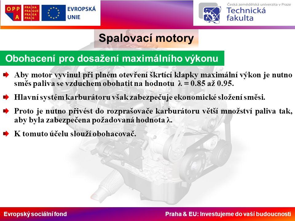 Evropský sociální fond Praha & EU: Investujeme do vaší budoucnosti Spalovací motory Obohacení pro dosažení maximálního výkonu Aby motor vyvinul při plném otevření škrtící klapky maximální výkon je nutno směs paliva se vzduchem obohatit na hodnotu λ = 0.85 až 0.95.