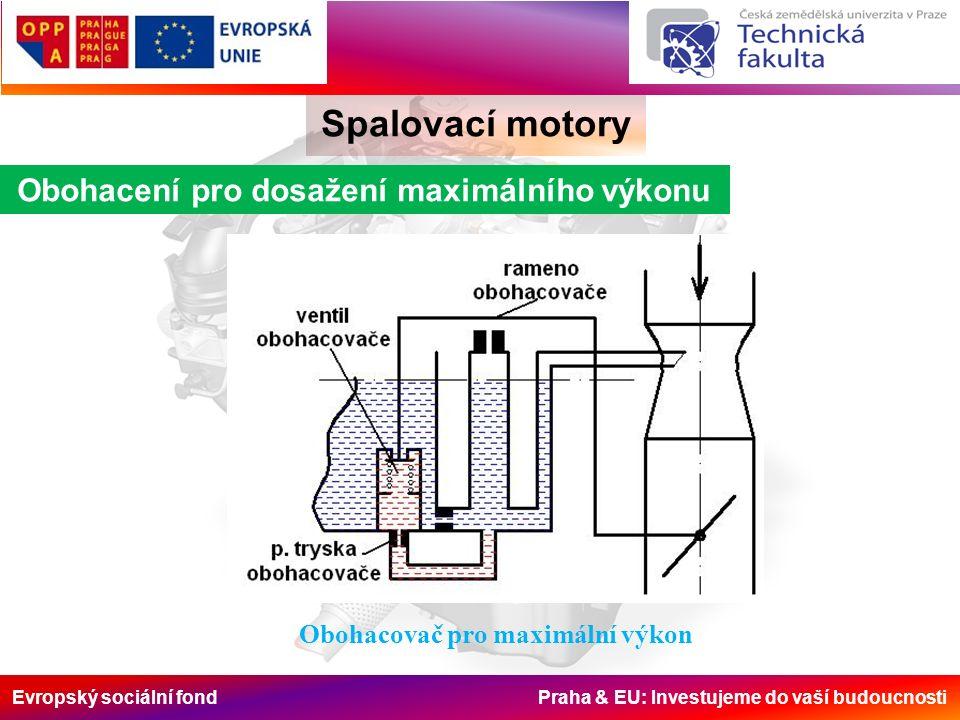 Evropský sociální fond Praha & EU: Investujeme do vaší budoucnosti Spalovací motory Obohacení pro dosažení maximálního výkonu Obohacovač pro maximální výkon