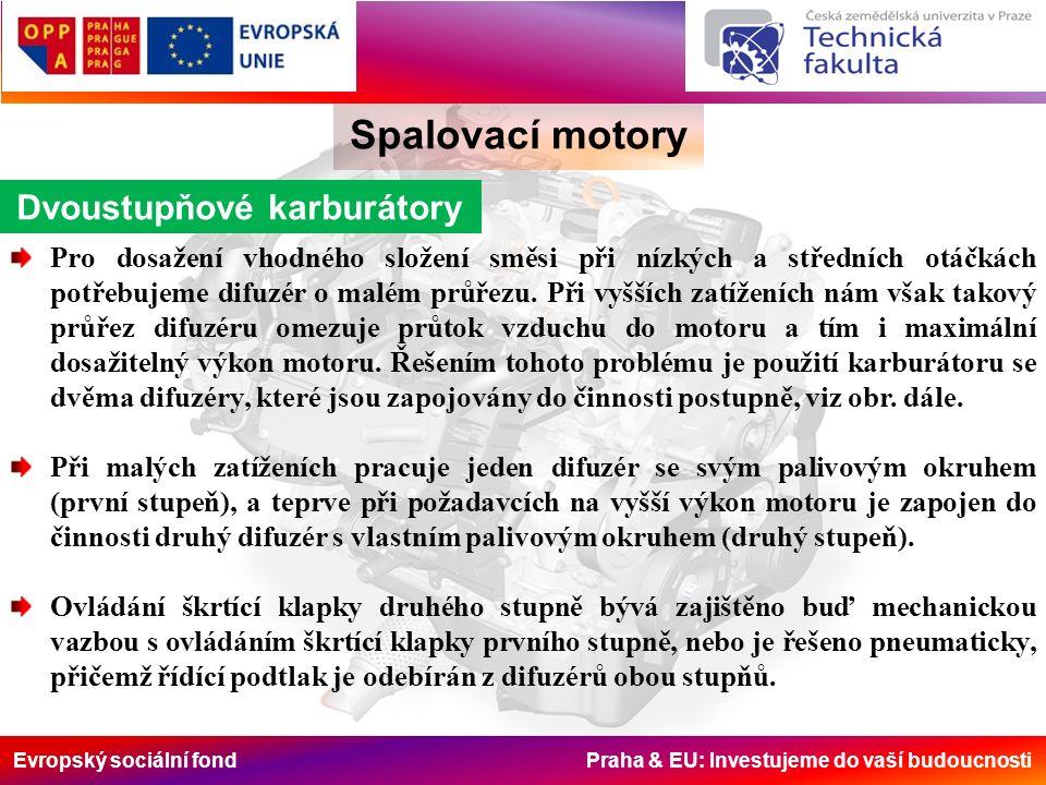 Evropský sociální fond Praha & EU: Investujeme do vaší budoucnosti Spalovací motory Dvoustupňové karburátory Pro dosažení vhodného složení směsi při n