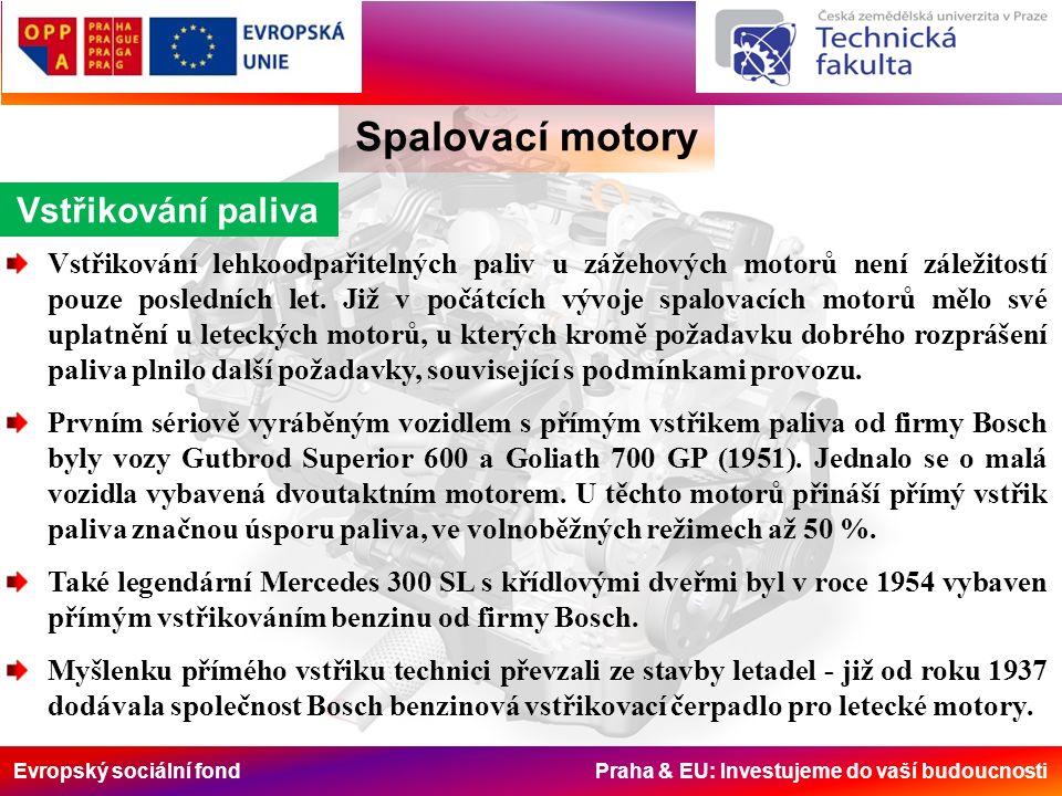 Evropský sociální fond Praha & EU: Investujeme do vaší budoucnosti Spalovací motory Vstřikování paliva Vstřikování lehkoodpařitelných paliv u zážehových motorů není záležitostí pouze posledních let.
