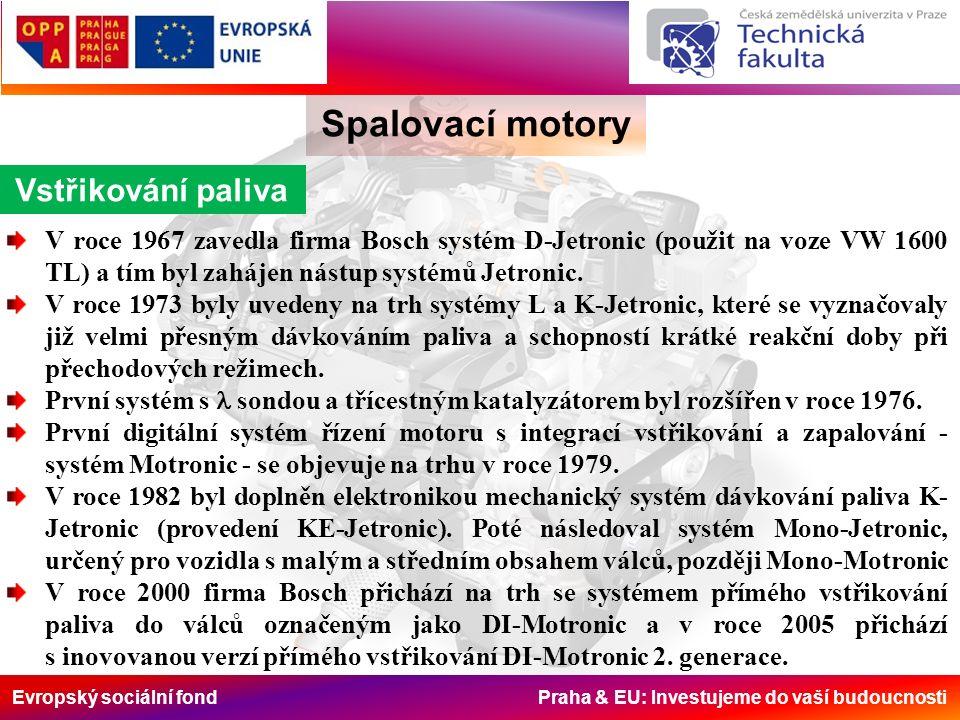 Evropský sociální fond Praha & EU: Investujeme do vaší budoucnosti Spalovací motory Vstřikování paliva V roce 1967 zavedla firma Bosch systém D-Jetron