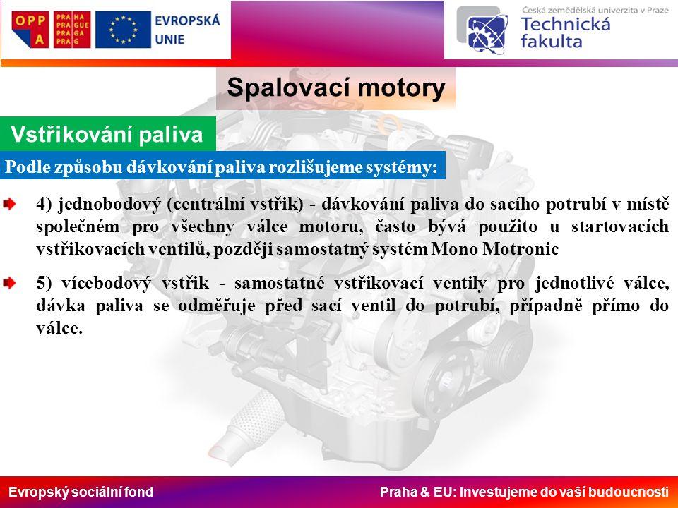 Evropský sociální fond Praha & EU: Investujeme do vaší budoucnosti Spalovací motory Vstřikování paliva Podle způsobu dávkování paliva rozlišujeme syst