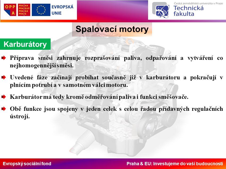 Evropský sociální fond Praha & EU: Investujeme do vaší budoucnosti Spalovací motory Karburátory Příprava směsi zahrnuje rozprašování paliva, odpařování a vytváření co nejhomogennější směsi.