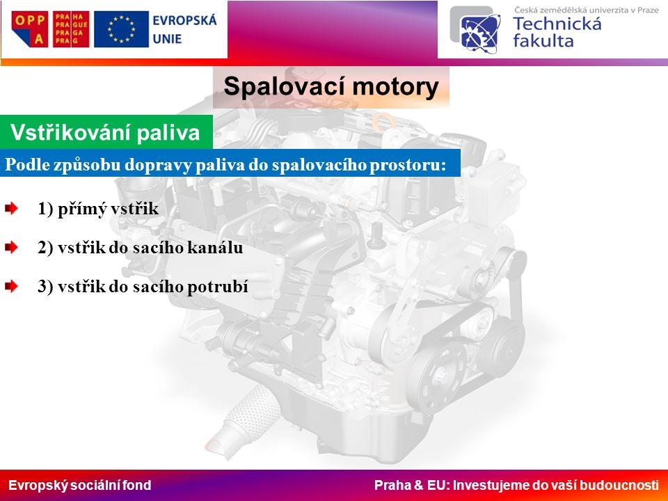 Evropský sociální fond Praha & EU: Investujeme do vaší budoucnosti Spalovací motory Vstřikování paliva Podle způsobu dopravy paliva do spalovacího pro