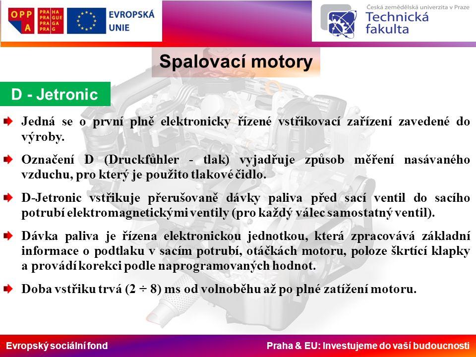 Evropský sociální fond Praha & EU: Investujeme do vaší budoucnosti Spalovací motory D - Jetronic Jedná se o první plně elektronicky řízené vstřikovací zařízení zavedené do výroby.