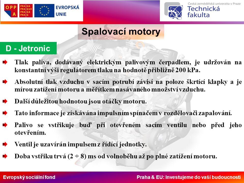 Evropský sociální fond Praha & EU: Investujeme do vaší budoucnosti Tlak paliva, dodávaný elektrickým palivovým čerpadlem, je udržován na konstantní výši regulátorem tlaku na hodnotě přibližně 200 kPa.