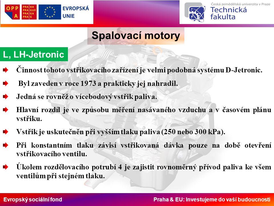 Evropský sociální fond Praha & EU: Investujeme do vaší budoucnosti Spalovací motory L, LH-Jetronic Činnost tohoto vstřikovacího zařízení je velmi podo