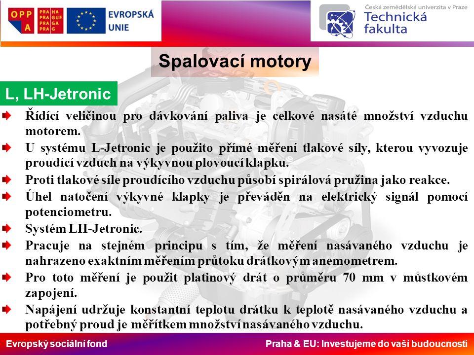 Evropský sociální fond Praha & EU: Investujeme do vaší budoucnosti Spalovací motory L, LH-Jetronic Řídící veličinou pro dávkování paliva je celkové na