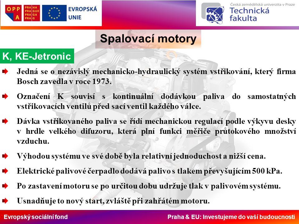Evropský sociální fond Praha & EU: Investujeme do vaší budoucnosti Spalovací motory K, KE-Jetronic Jedná se o nezávislý mechanicko-hydraulický systém