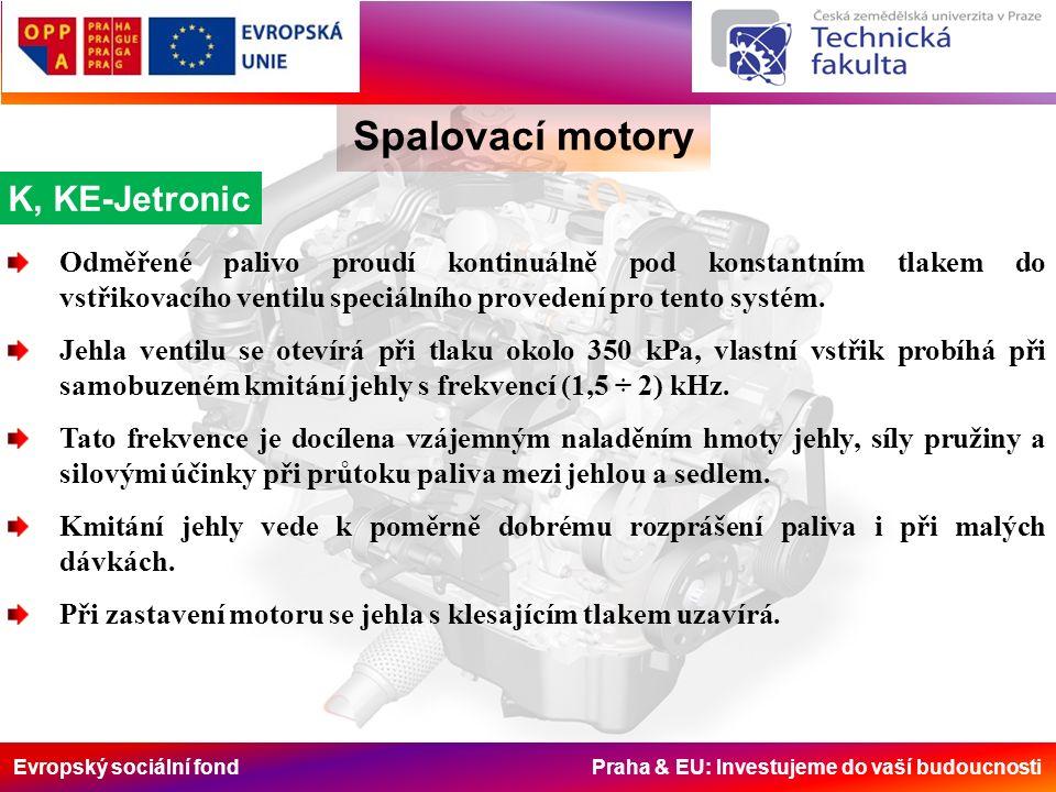 Evropský sociální fond Praha & EU: Investujeme do vaší budoucnosti Spalovací motory K, KE-Jetronic Odměřené palivo proudí kontinuálně pod konstantním tlakem do vstřikovacího ventilu speciálního provedení pro tento systém.