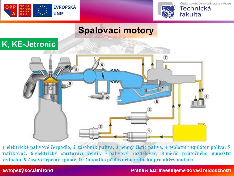 Evropský sociální fond Praha & EU: Investujeme do vaší budoucnosti Spalovací motory K, KE-Jetronic 1-elektrické palivové čerpadlo, 2-zásobník paliva, 3-jemný čistič paliva, 4-teplotní regulátor paliva, 5- vstřikovač, 6-elektrický startovací ventil, 7-palivový rozdělovač, 8-měřič průtočného množství vzduchu, 9-časový tepelný spínač, 10-šoupátko přídavného vzduchu pro ohřev motoru