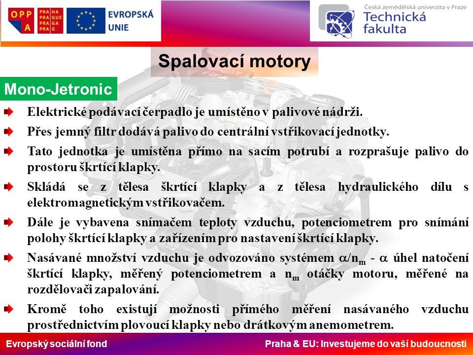 Evropský sociální fond Praha & EU: Investujeme do vaší budoucnosti Spalovací motory Mono-Jetronic Elektrické podávací čerpadlo je umístěno v palivové nádrži.